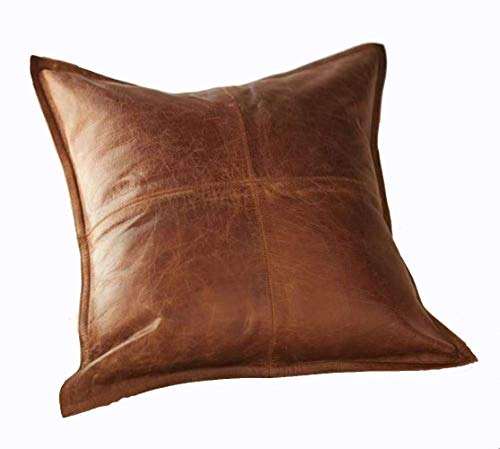 Leather Lovers 100% Lambskin Leather Pillow Cover - Sofa Cushion Case - Decorative Throw Covers for Living Room & Bedroom - 16x16 Inches - Antique Brown Pack of 1