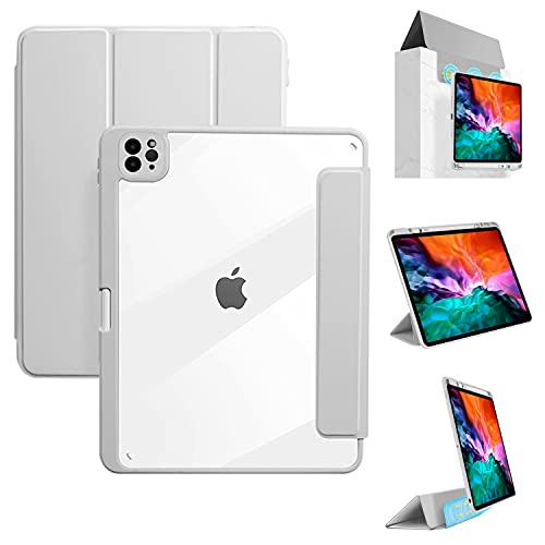 Tasnme iPad Pro 11 ケース2021/2020/2018 第3/2/1世代 鉛筆ホ ルダーで フルボディ保護ショックプルーフソフトTPU バックカバー 自動スリープ/ウェイクで サポート第2世代鉛筆充電 ブラック 透明背面 グレイ