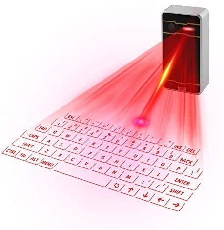 LIZONGFQ Mini Virtual Laser Tastatur Bluetooth Wireless Projektion Mini-Tastatur tragbar für Computer-Telefon-Tablet-Laptop (schwarz)