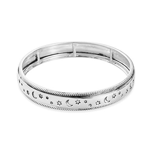Moon Star Meditation Spinner Bangle Bracelet 925 Sterling Silver Statement Boho Handmade Fashion Women Jewelry For Gift Celtic Stress Relieving Size 7.25 inch