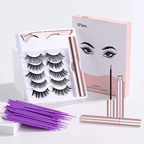 JPNK 5Pairs Strong Magnetic Eyelashes with Eyeliner,3D Natural Look False Lashes Kit with Applicator,Short and Long Magnetic Lashes Set and 100PCS disposable wands- No Glue Needed