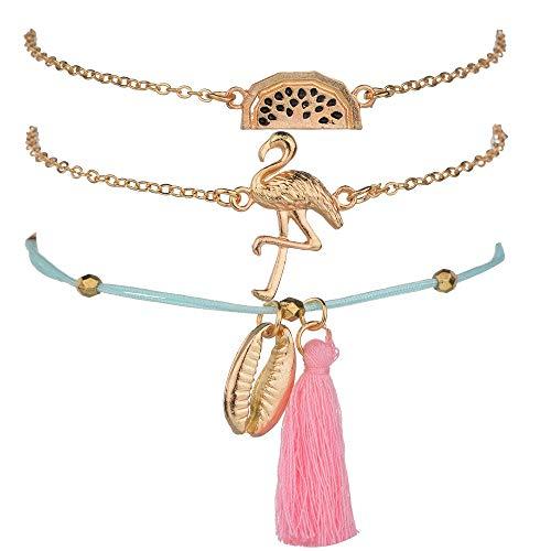 BELUCKIN - Juego de 3 pulseras de capas ajustables con múltiples flamencos, apilables, joyería bohemia para mujeres y niñas