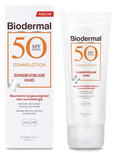 Biodermal Zonnelotion Zongevoelige Huid - Beschermt bij Gevoeligheid voor Zonneallergie - SPF 50-100ml