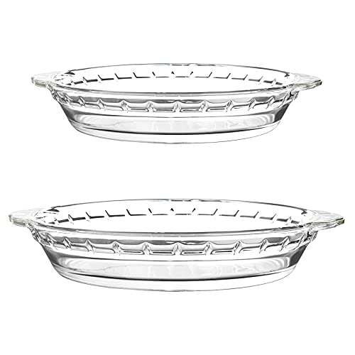LIFESENCE Pie Pan Glass Pie Dish for Baking Glass Pie Dishes 9-1/2 inch and 8-1/2 inch Pie Plate for Apple Pie Pumpkin Pie, Quiche and More
