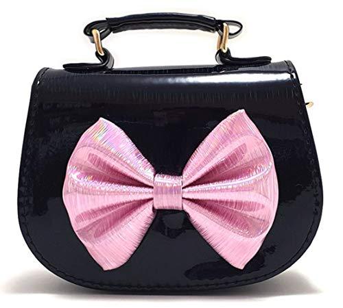 Kleine Mädchen Tasche für Kinder – Kleine Prinzessin Mini Süße Handtaschen Schulter Messenger Big Ribbon Bag (Schwarz-Rosa)