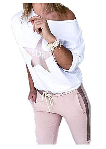 Fliegend Damen Freizeitanzug Casual Hausanzug Zweiteiler Hosenanzug Langarmshirt Lange Hosen Bekleidung Set Lässige Änzuge M