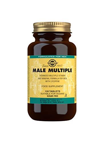 Solgar   Male Múltiple Complejo Multivitamínico y Multimineral para el Hombre  Multinutriente   Con Vitaminas, Minerales y Licopeno   120 Comprimidos   Apto para Veganos