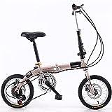 ZEMENG 14'Bicicleta Urbana Plegable, Bicicleta de Acero Alto Carbono, Bicicleta Ciudad Velocidad Velocidad Variable, Bicicleta para niños Freno Disco Doble, para Unisex para Estudiantes Adultos,A