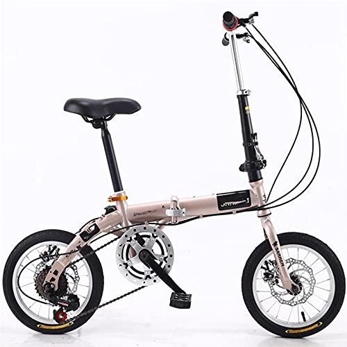 ZEMENG Bicicleta de Velocidad Variable Plegable de 16 Pulgadas, Hombres Mujeres Adulto Estudiante ultraviro portátil Plegable Ocio Bicicleta,Marrón