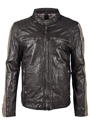 Gipsy GBBrenton LARIV - Chaqueta de piel para hombre, diseño de rayas en mangas y cuello alto negro/gris topo S