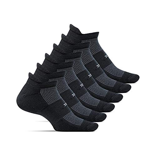 Feetures - High Performance Cushion - No Show Tab - Athletic Running Socks for Men and Women - Black - 6 Pack - Size Large