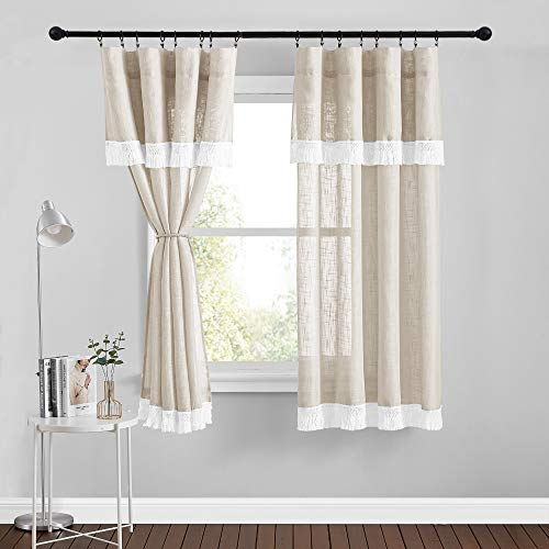 RYB HOME Linen Textured Sheer Curtains Attached Valances Set w/ Tassel Light Airy Privacy Window Treatment Panels for Dining Cafe Bedroom, 52 inch Wide x 63 inch Long, Beige, 1 Pair