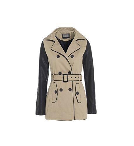 Mac - Abrigo de piel sintética para mujer (talla 38), color beige