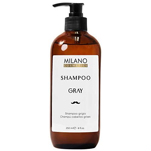Milano Champú Cabellos Grises Hombre Shampoo Gray 250 ml Champú profesional sin sulfatos ni parabeno diseñado para matizar, cuidar y potenciar el pelo gris, blanco, cano o decolorado.