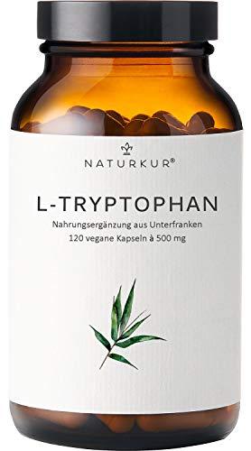 Naturkur® L-Tryptophan 500 mg - 120 vegane Kapseln im Apothekerglas für 4 Monate - Laborgeprüft nach DIN EN ISO 17025, rein pflanzliche Fermentation, ohne Zusatzstoffe, hergestellt in Deutschland