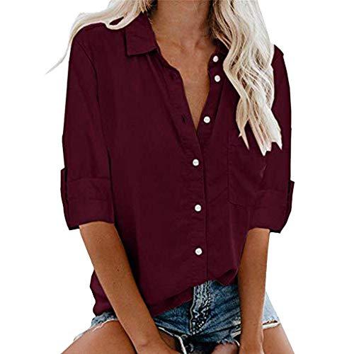 Camisas Color Sólido Mujer Blusas Sueltas de Manga Larga Tops Informales Camisa Fiesta Elegante Ropa Adolescente Casual Otoño(Vino,S)