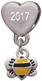 Mini Bumble Bee Custom Year Stainless Steel Heart Bead Charm
