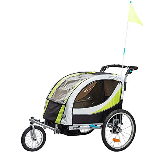 GT-LYD Kinderanhänger Fahrradanhänger Kinder,2 in 1 Multifunktionsfahrrad Kindertrage Kinderanhänger Kinderwagen Jogger Kit in Stahlrahmen Little Baby Buggy Jogger, Double,A