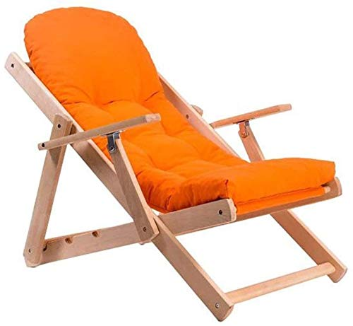 Sieste - Silla reclinable plegable de madera maciza con tejido reclinable simple, silla para balcón, silla de paseo (color: D)