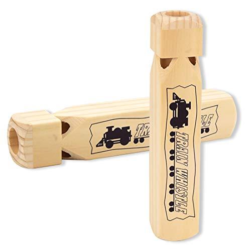 Silbato de tren para niños, paquete de 2 silbatos de madera con 4 tonos