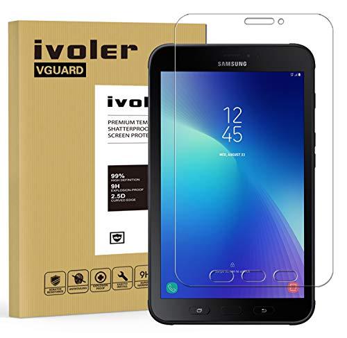 ivoler Panzerglas Schutzfolie Kompatibel für Samsung Galaxy Tab Active 2 8.0 SM-T390 / SM-T395, 9H Härte, Anti- Kratzer, Bläschenfrei, 2.5D R&e Kante