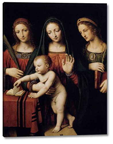 "Madonna and Child with STS Catherine and Barbara by Bernardino Luini - 13"" x 16"" Gallery Wrap Canvas Art Print - Ready to Hang"