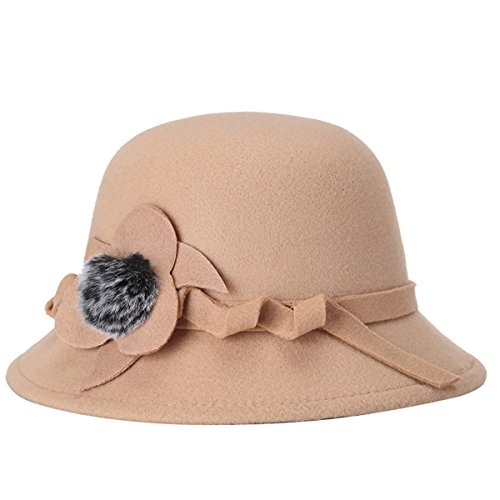 TININNA TININNA Winter warmer Blumen Wollhut Eleganter Art und Weiseeimer Hut Cloche Hut Derby Kappen Bellhut Hüte Mütze Schirmmütze für Frauen Damen EINWEG Verpackung