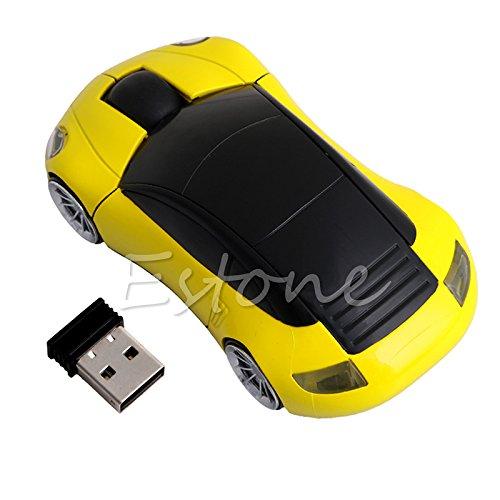 Ratón para videojuegos, 2,4 G, 1600 DPI, receptor USB, inalámbrico, luz LED en forma de coche, ratón óptico, color rojo