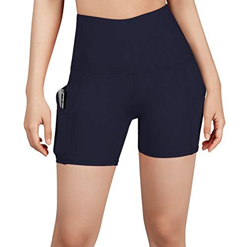 ODODOS High Waist Out Pocket Yoga Short Tummy Control Workout Running Athletic Non...