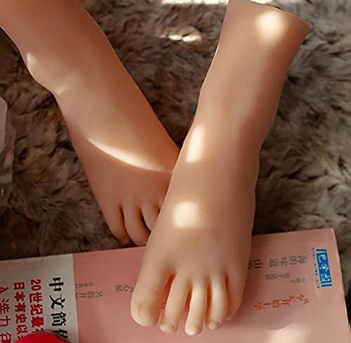 Silicona Pies Modelo, Simulación de pie de niña, maniquí de silicona, modelo de pie para adolescentes para calcetines de zapatos, sandalias, exhibición de bocetos artísticos ( Size : Left foot )