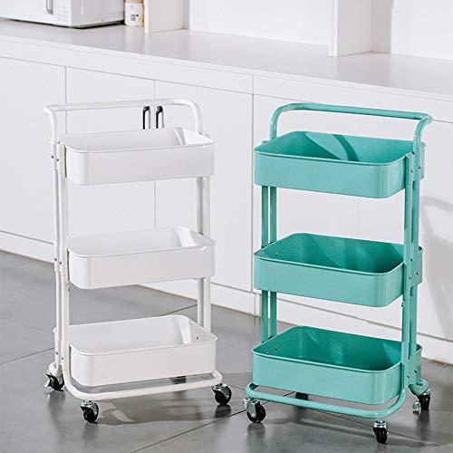 Carrito de metal de 3 pisos, carrito de almacenamiento con cesta, carrito multiusos, servicio de carro, cuarto de baño, cocina, oficina (color azul)