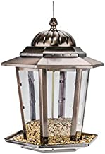 JPVGIA Bird Seed Feeder with Hanging Metal Roof, Garden Hanging Seed Feeders