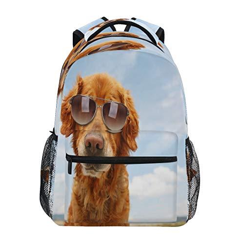 XIXIKO Golden Retriever Dog Gafas de sol mochila escolar bolsa de viaje al aire libre mochila para mujeres hombres niño niña deporte gimnasio senderismo camping mochila mochila