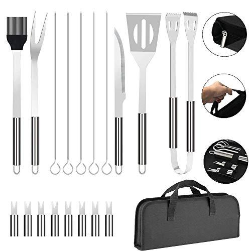 Honnesserry Juego de 18 herramientas para barbacoa de acero inoxidable para barbacoa profesional, kit de accesorios para barbacoa al aire libre, utensilios de barbacoa para hombres, mujeres y papá