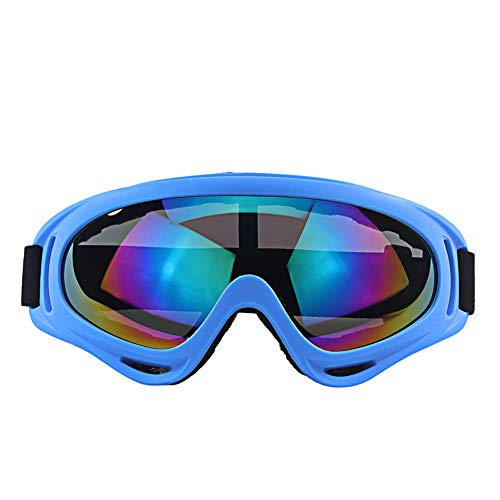 Kuyoly Protective goggles for cycling, skiing and mountaineering, windproof, dustproof, UV protection, wear-resistant, multi-coloured sports outdoor glasses (blue)