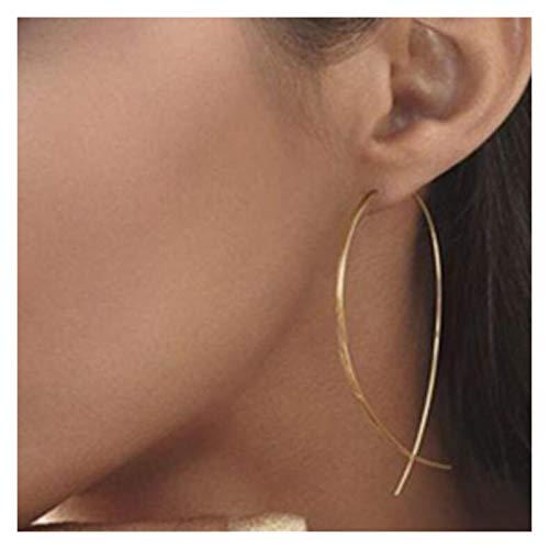 WanXingY Diseño Coreano Joyería Hembra Pendientes Pendientes Simple Golden Silver Metal Alambre Arco Pendientes (Color : Bronze)