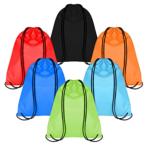 Mamowla Mochila Saco 6 Pack Bolsas de Cuerdas de Deporte Bolso Gimnasio Bolsa Impermeable Organizador para Maletas Drawstring Bags Nylon Gymsack Entrenamiento de Natación Playa Escuela