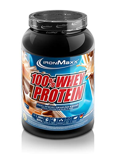 IronMaxx 100{14a9192ff65d371b86257fe30f0b1b45fc977fdbb6bbd501addcc8ba7ea6630a} Whey Protein – Proteinpulver auf Wasserbasis – Whey Eiweißpulver mit Nuss-Karamell Geschmack – 1 x 900 g Dose