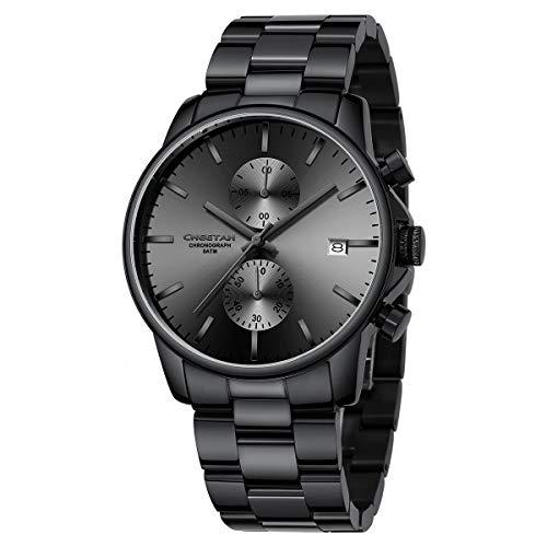 Orologi da uomo con orologio al quarzo cronografo casual impermeabile in acciaio e metallo, datario automatico con lancette colorate (Nero Grigio)