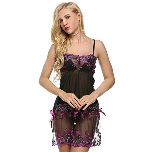 Bodies Mujer Ropa Interior Ropa De Dormir Sexy para Mujer Lencería Elegante Bordada Fantasías Eróticas Ropa De Dormir + G-String -Purple_M