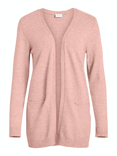 Vila Clothes Damen VIRIL L/S Open Knit Cardigan-NOOS Strickjacke, Pale Mauve, Detail:Melange, XL