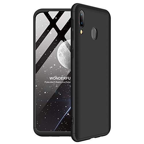 Capa Capinha Anti Impacto 360 Para Samsung Galaxy M20 Tela De 6.3Polegadas Case Acrílica Fosca Acabamento Macio - Danet (Todo preto)