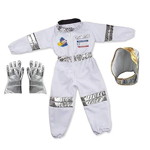 Hangarone Disfraz De Astronauta para Niños Spaceman Juego De Roles Juego De Disfraces Mono Casco Guantes Etiqueta De Nombre Y Pin De Bandera para Niños Niños Niñas