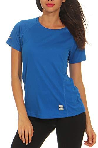 Happy Clothing Damen Sport T-Shirt Kurzarm Trikot Sommer Funktionsshirt Fitness Top, Größe:XL, Farbe:Blau