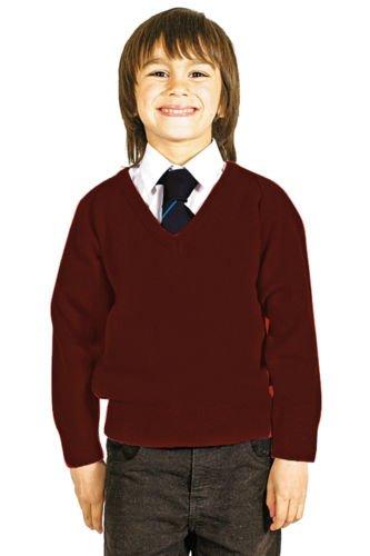 Niños Escuela Uniforme V cuello premium mezcla de lana de punto Pullover Jumper