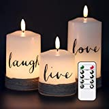 """GenSwin Flameless LED Candles with Hemp Rope & Remote Timer, Real Wax Battery Operated Pillar Candles Live Laugh Love, Realistic 3D Wick Flickering Gift (D3"""" x H4.7"""" 5.7"""" 6.7"""", Pack of 3)"""