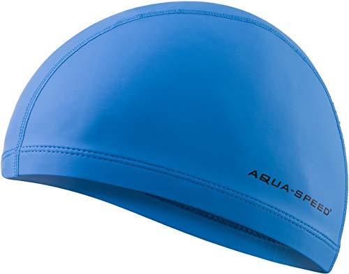 Aqua Speed Badekappe Damen & Herren | Schwimmkappe | Blaue Bademütze | Badehaube wasserdicht | Schwimmmütze Mädchen Jungs | Swimming Cap | Schwimmen | Triathlon | Lycra/PU | Blue | Profi