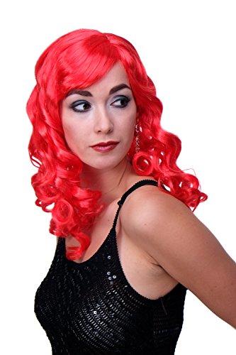 WIG ME UP - Perruque Carnaval Boucles Longues Frange Vamp Diva Rouge Neon pétant LM-142-PC13