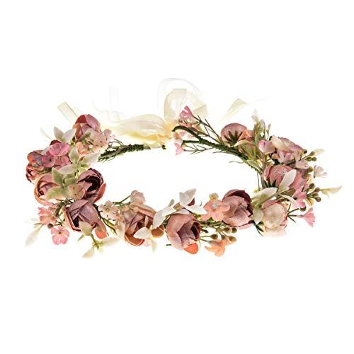 DreamLily Girls Camellias Flower Crown Birthday Photo Pops Hair Wreath Wedding Festival Floral Headpiece XM11 (Pink)