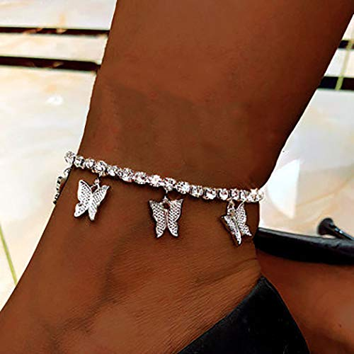 Butterfly Crystal Anklets Women Ankle Bracelets Sparkly Butterflies Bracelet Rhinestone Foot and Hand Chain Jewelry (Silver)
